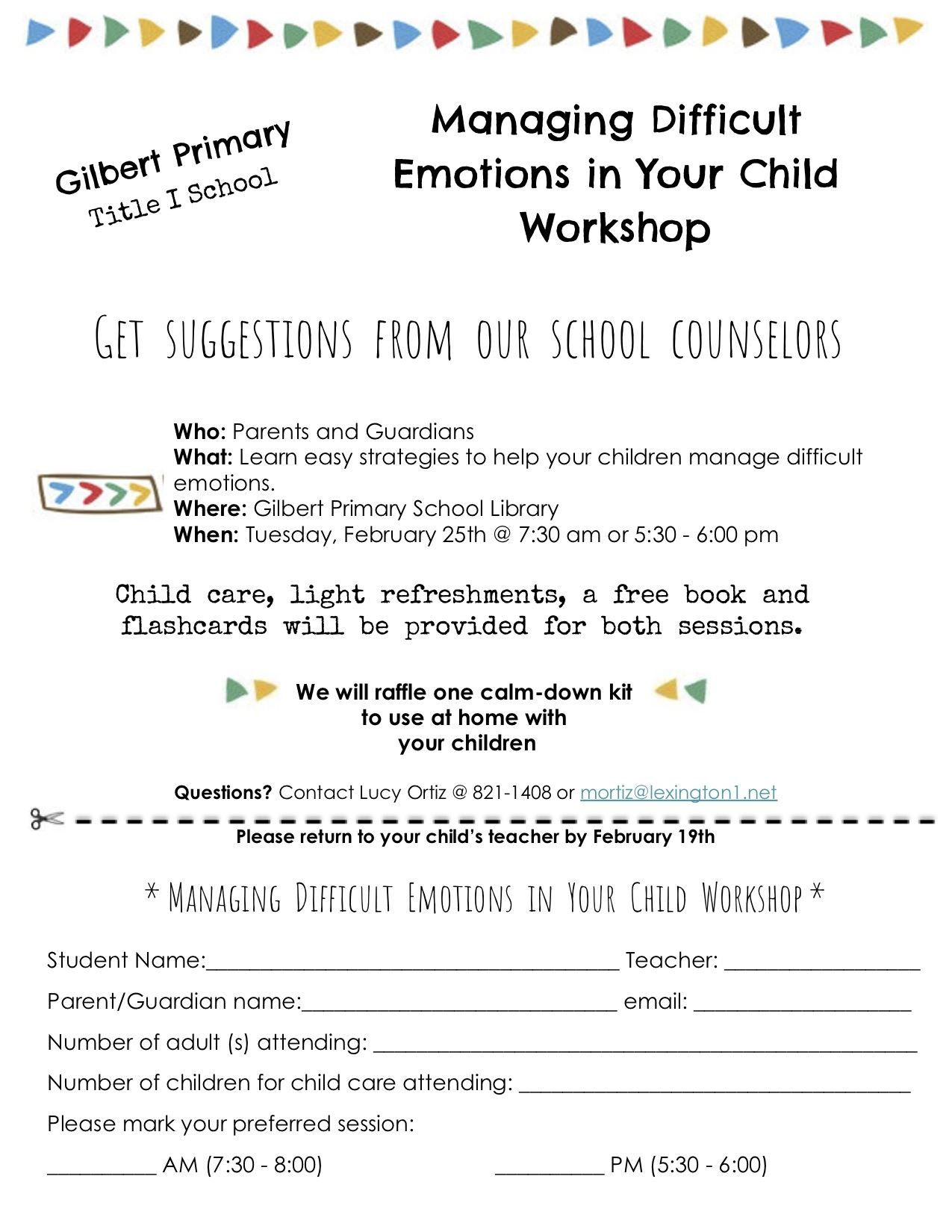 Managing Difficult Emotions in Your Child Workshop
