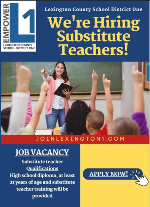Lexington 1 is looking for substitutes.  Apply now.