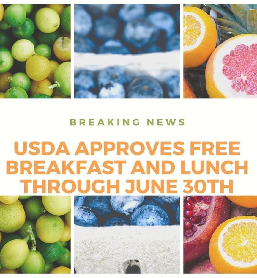 We have exciting news!! ALL meals are FREE for ALL students through June 30, 2021!!!