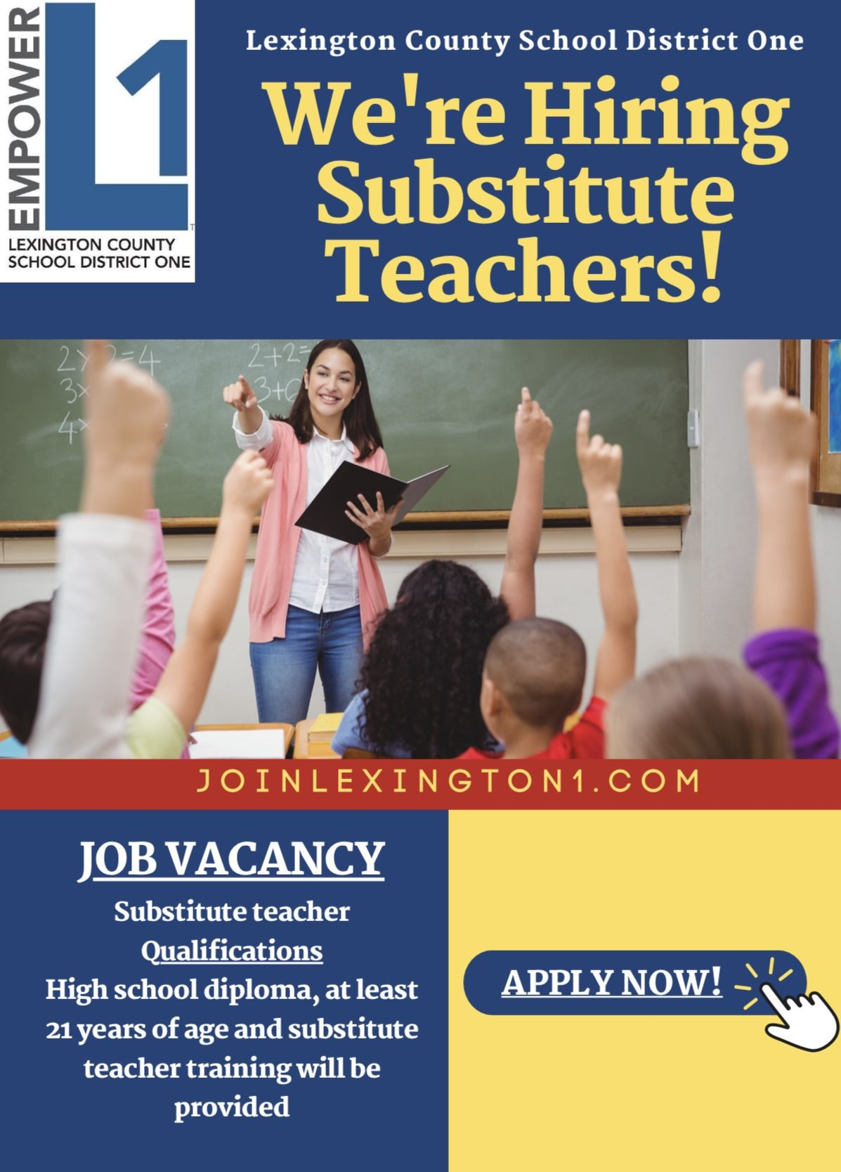We're Hiring Substitute Teachers!