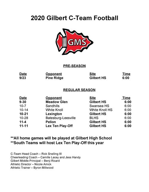 C-Team Football Schedule