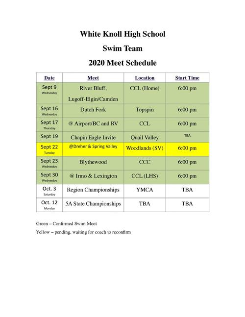 Swim Team 2020 Meet Schedule