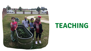 student teaching others to garden