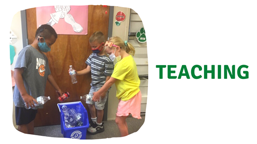 student teaching others to recycle